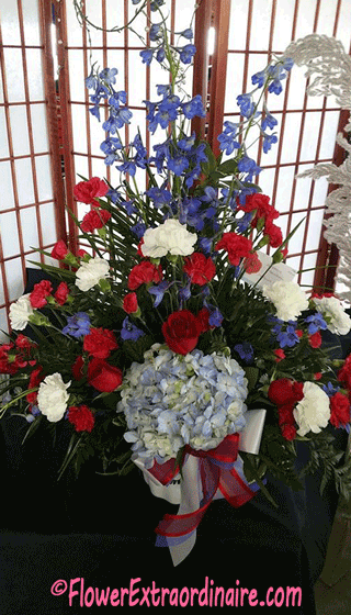 red-white-and-blue flowers for patriotic holidays