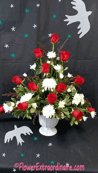 red roses, white mums + additional flowers