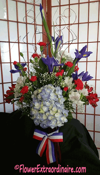 red white blue flowers - citizenship celebration