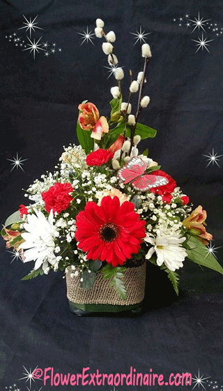 white daisies, red flowers, tall arrangement