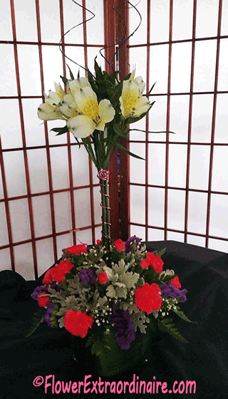 tall floral arrangement - red + white flowers